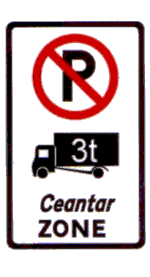 Zonal restriction - no parking of large vehicles Regulatory Traffic Sign