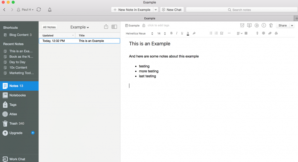 Evernote App Notes Example