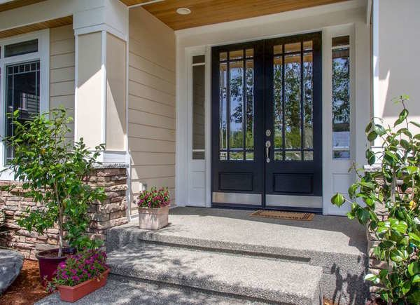 Contemporary Double Door with Glass & Sidelites