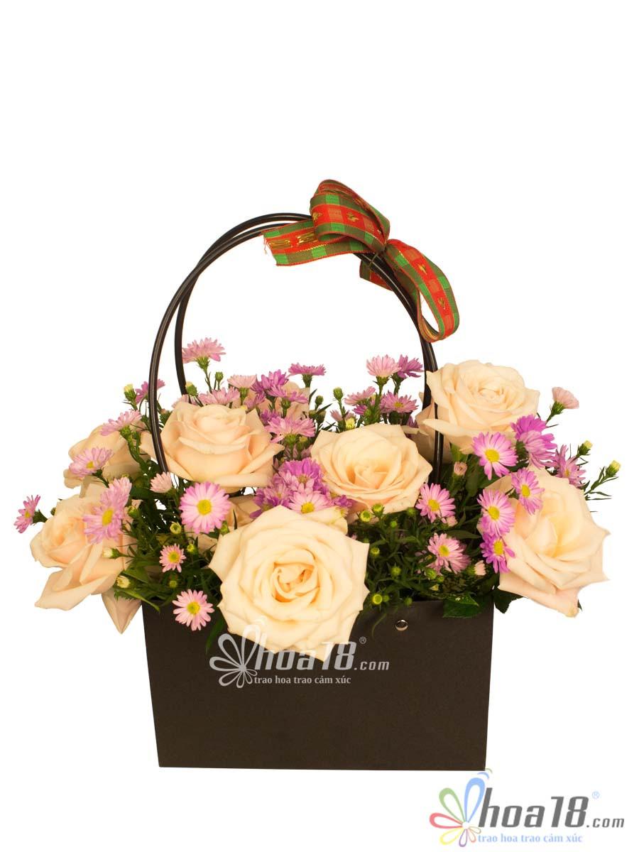 giỏ hoa tặng 14/2 đẹp