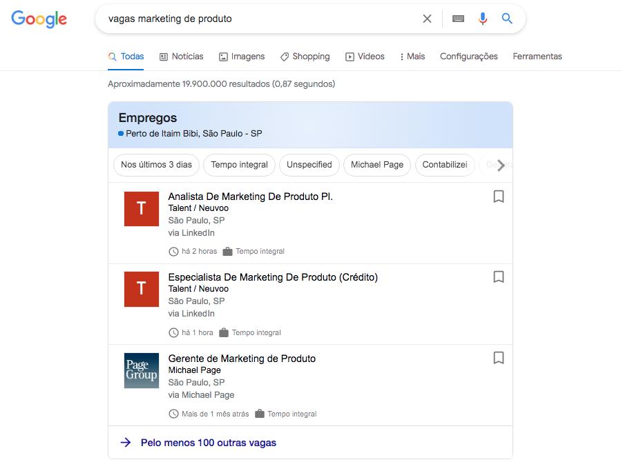 Vagas de marketing de produto