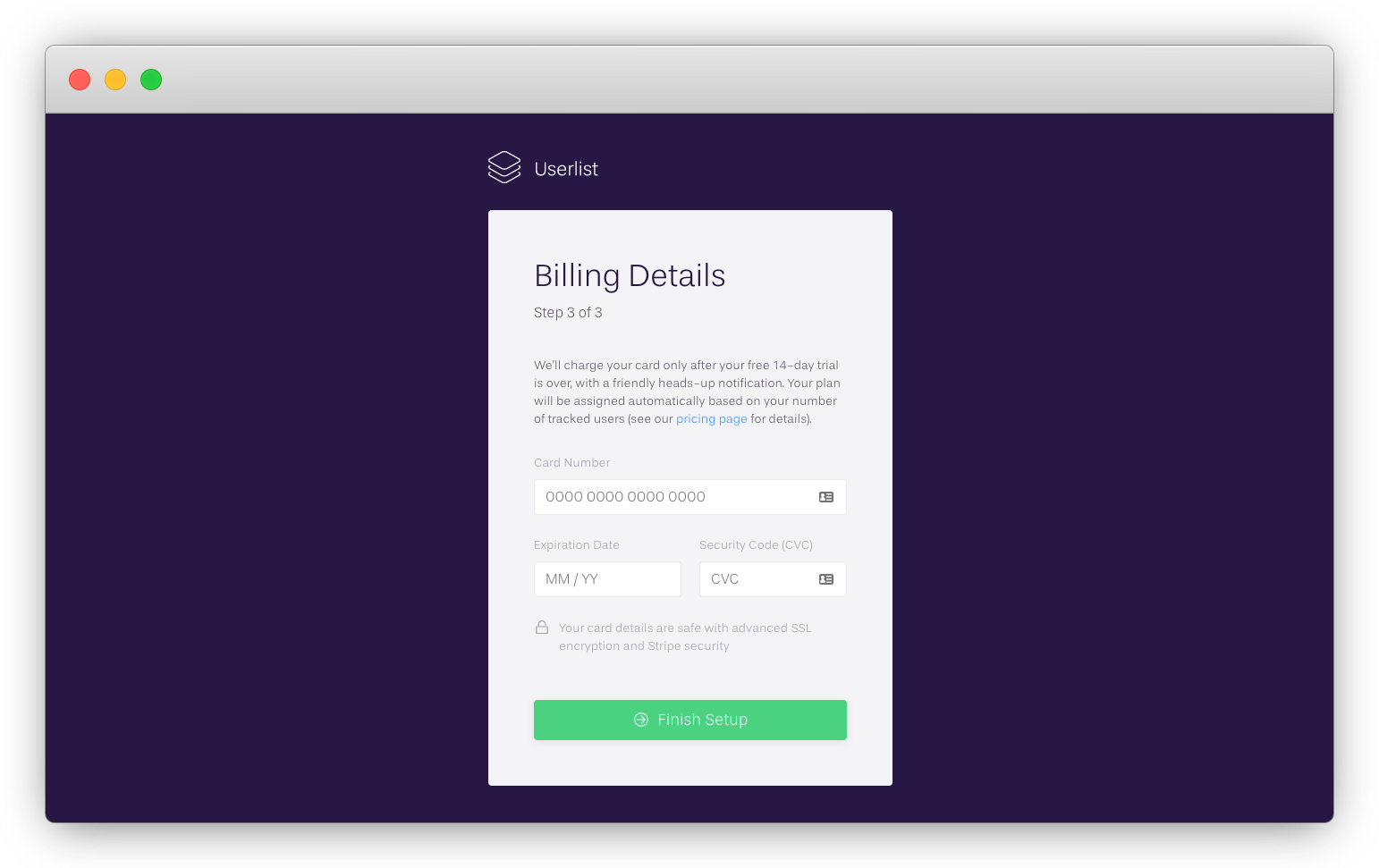 Userlist's final step of signup process