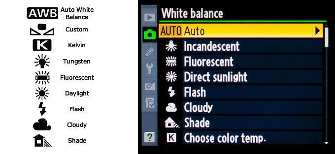 White Balance icons for Canon (left) and Nikon (right)