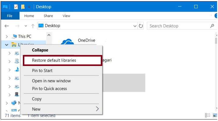 Restore the Default Libraries to fix Error Code 0xc10100c4