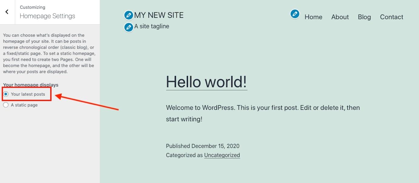 homepage displays latest posts