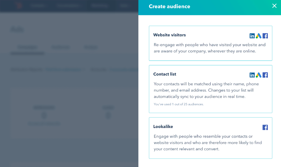 hubspot free marketing tool conversion options page