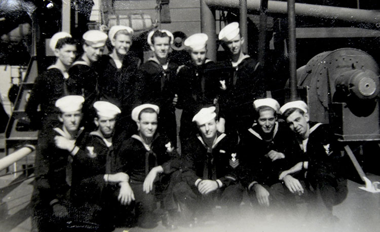 Lowell's photo of shipmates aboard the USS Braxton, around the time of Okinawa invasion