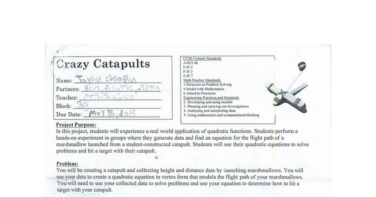 Math Project Crazy Catapultpdf Google Docs