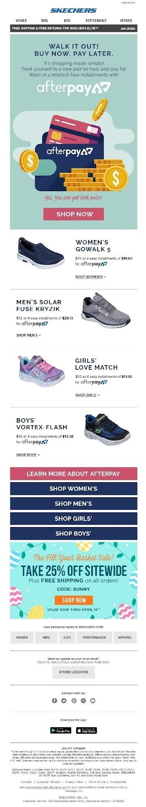 Skechers | example of great subject line and preheader text