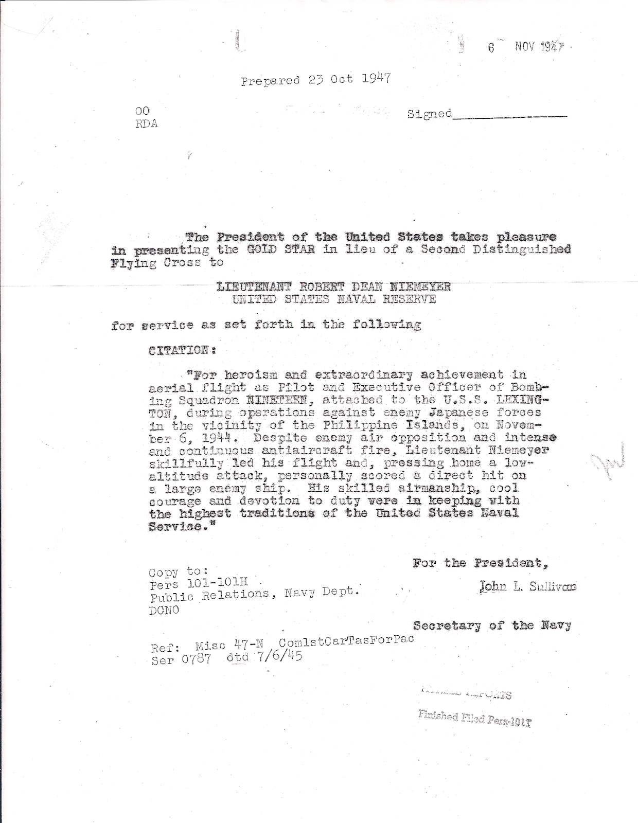 Robert D Niemeyer Presidential Citation for DFC Gold Star 23 Oct 1947.png