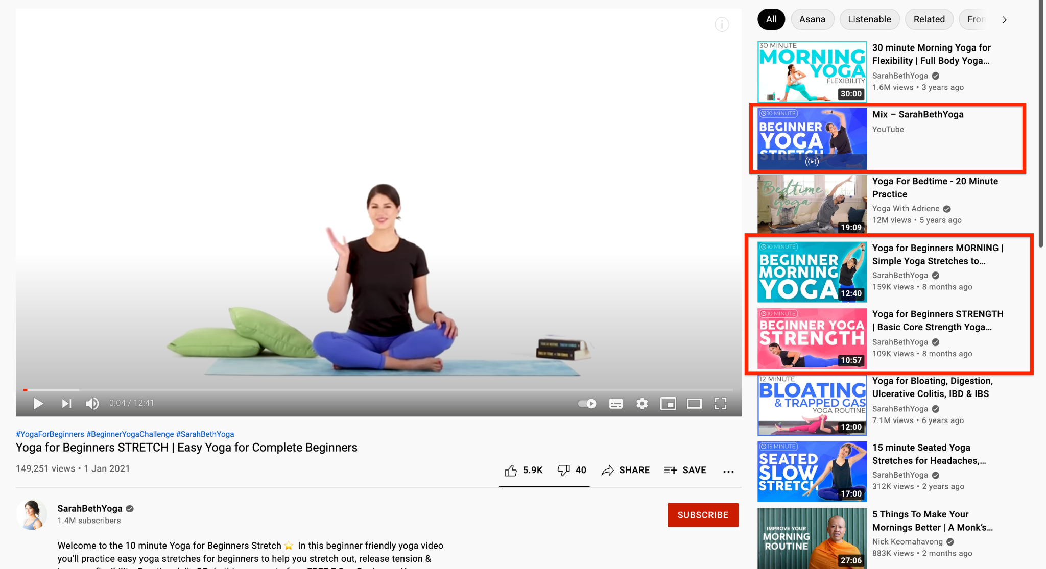 SarahBethYoga YouTube channel screenshot