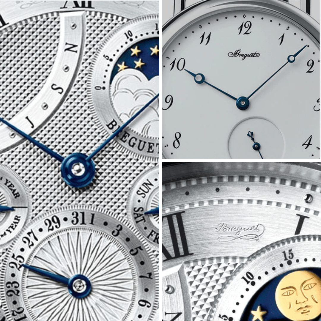 Common features of a Breguet watch, including; engine-turned dial, Breguet hands, numerals, and secret signature.
