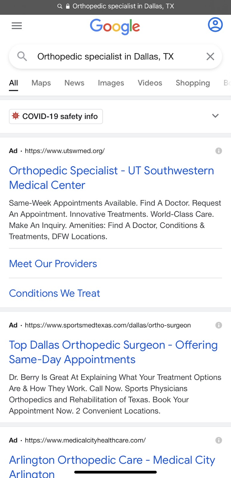 Screenshot image of Google search for Orthopedic specialist in Dallas, Tx to explain PPC advertising and targeted ads across a specific location