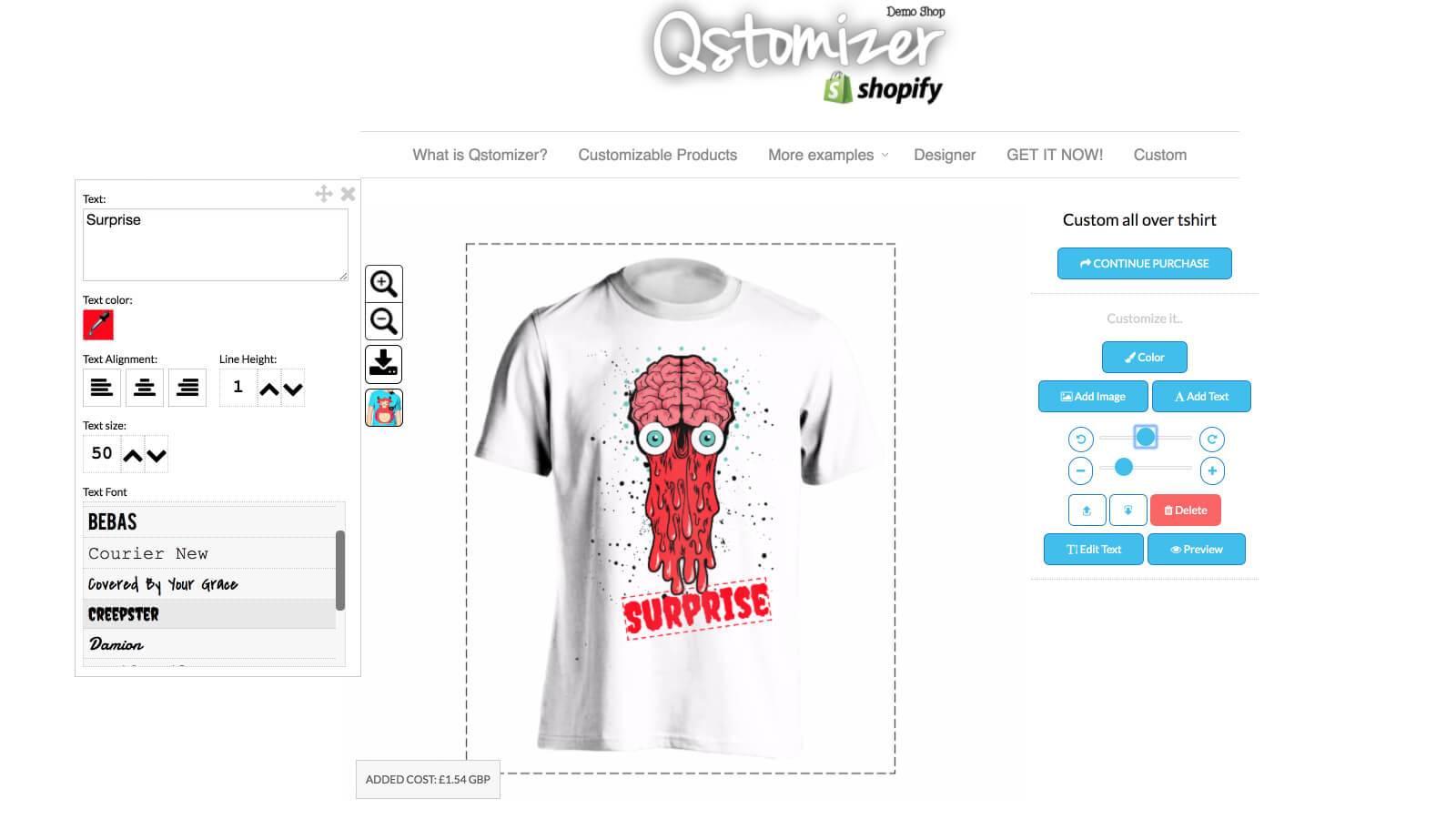 Shopify product customizer Qstomizer