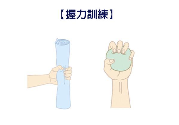 【握力訓練】把手裡的毛巾捲或是海綿球用力抓緊直到凹陷,並感覺到手指頭有在用力。