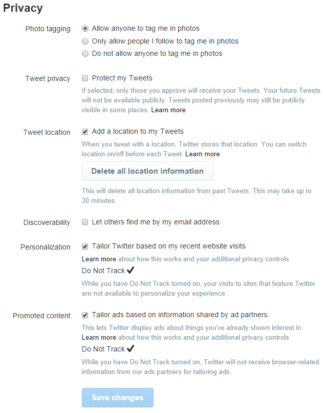 Screenshot of Twitter privacy options