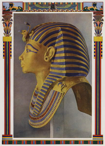 Image of Gold portrait mask from the mummy of Tutankhamun, discovered in the Pharaoh's tomb by Howard Carter in 1922 (colour litho), English School, (20th century) / English, Private Collection, © Look and Learn / Bridgeman Images