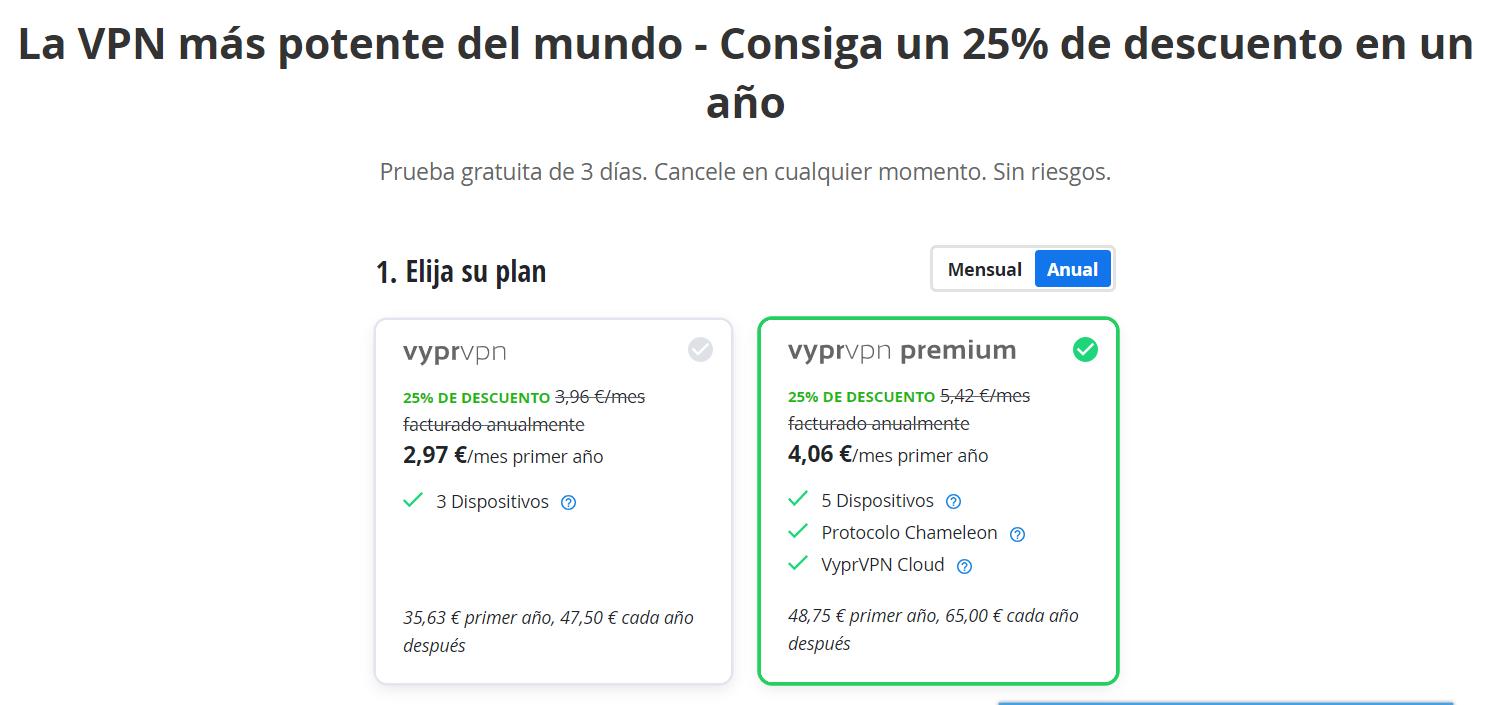 VyPR VPN planes y precios