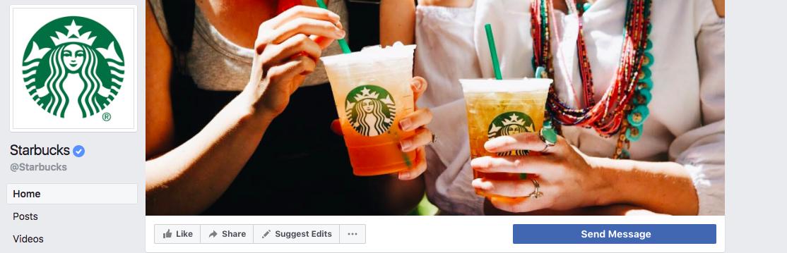 Screenshot of Starbucks Facebook page
