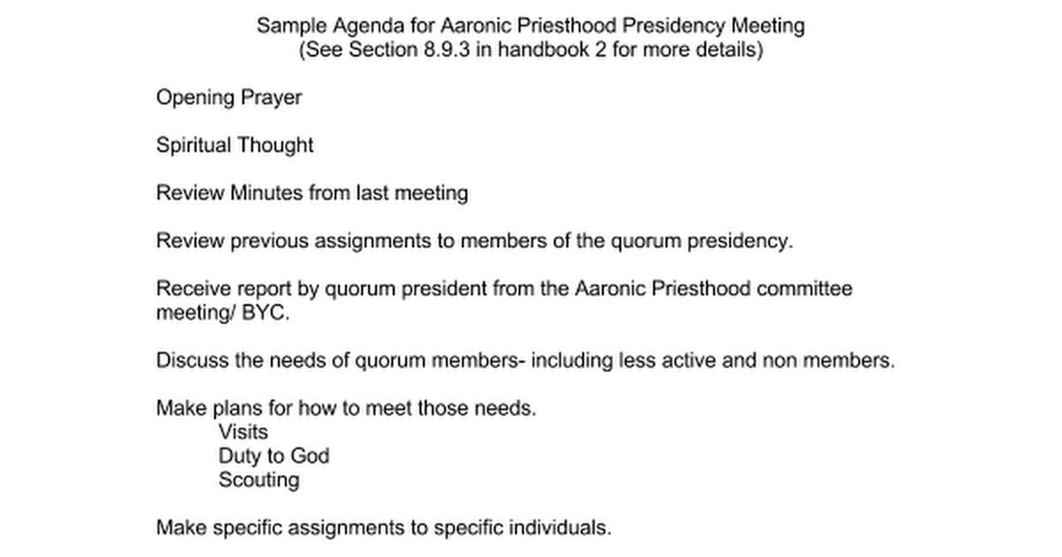 sample agenda meetings