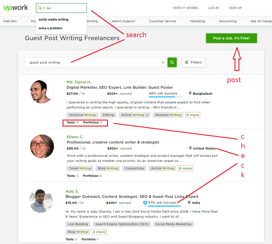 Screenshot of Upwork for how to outsource freelance writers for SEO content
