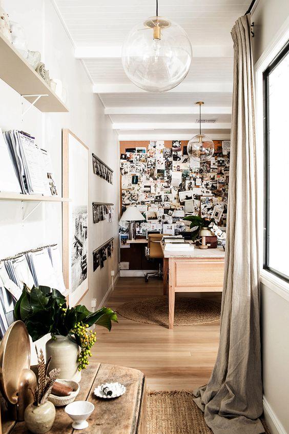 tara fust design firm buckhead home office photo corkboard dramatic pendants glass