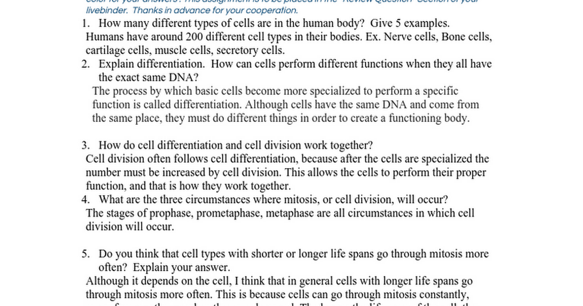 Cell Division Cancer and Chemotherapy Review Questions Google Docs – Cell Division Worksheet