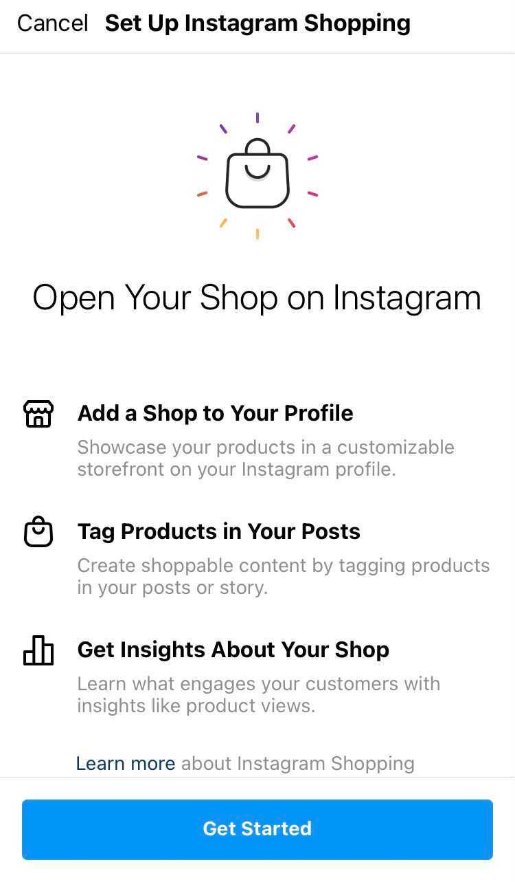 instagram shopping set up