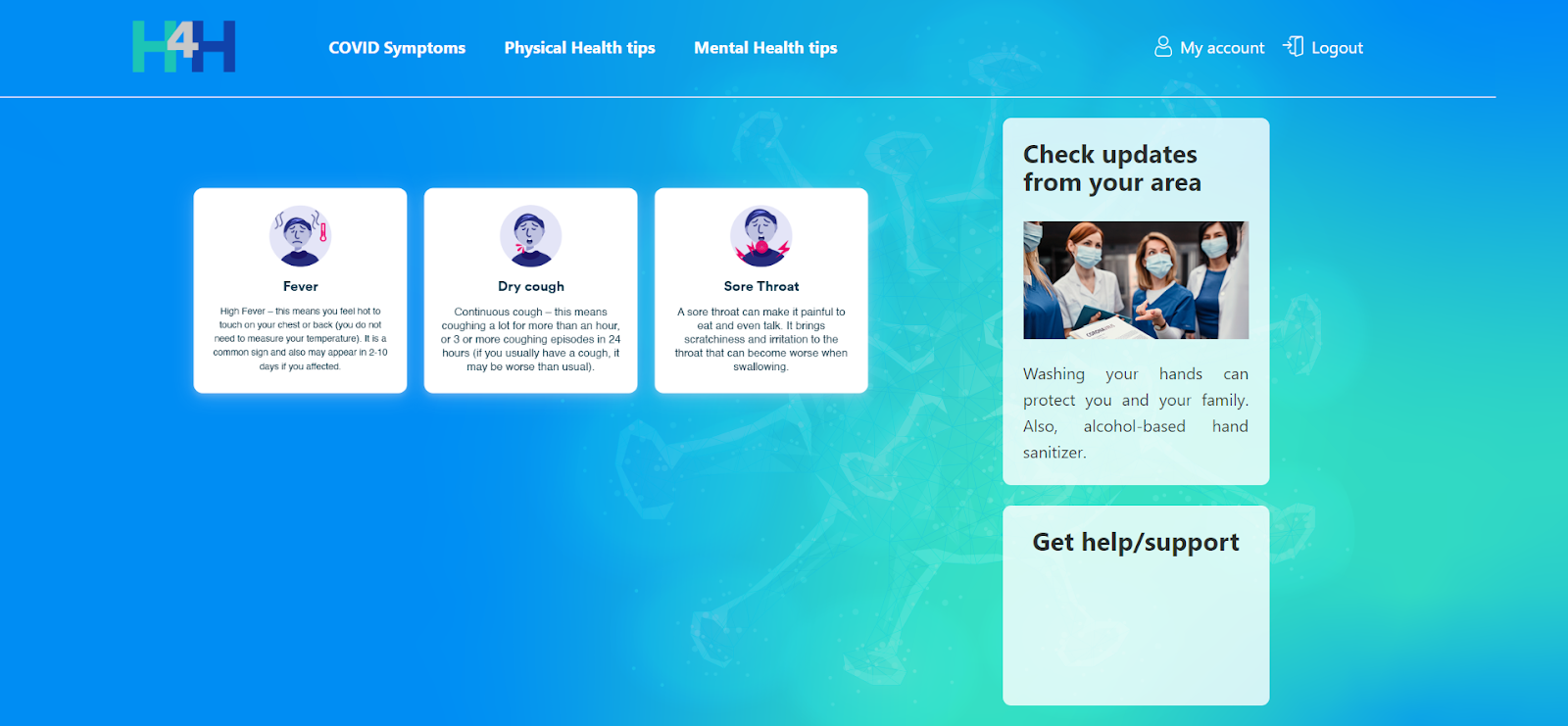 Upstack Hack For Health Landing Page