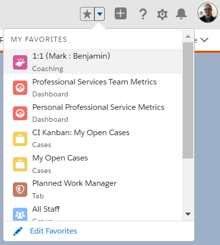 Screenshot showing my favorites in the Internet Creations Salesforce Org.