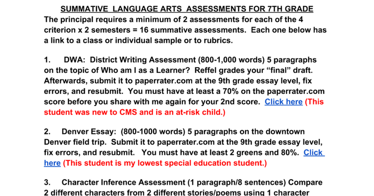 summative language arts assessments th grade google docs