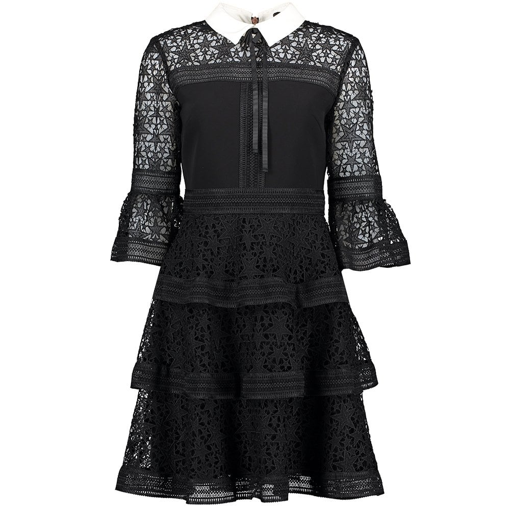 TED BAKER Starh Star Lace Ruffle Dress