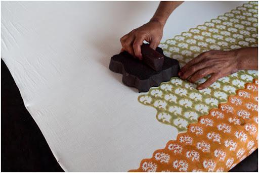 Estampación textil con bloques
