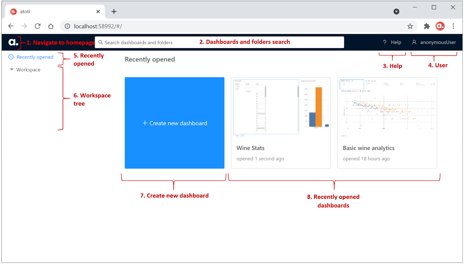 Layout of the landing page for atoti web application