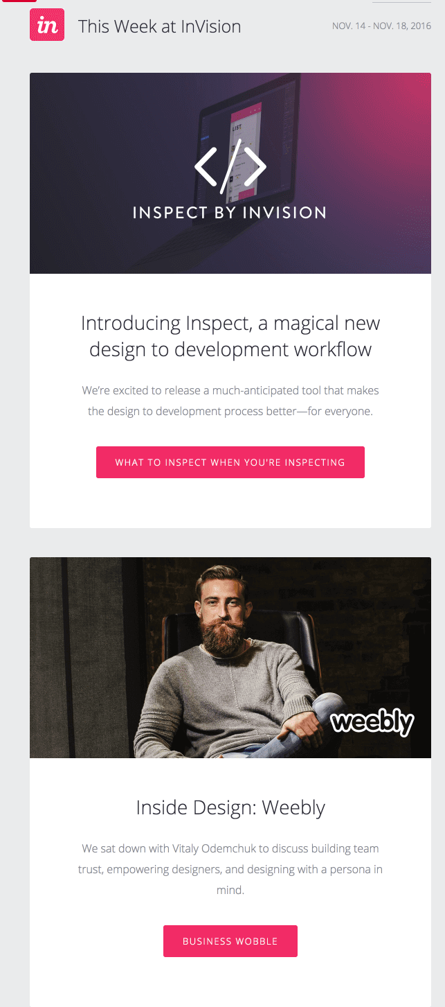 An email of an email from InVision.