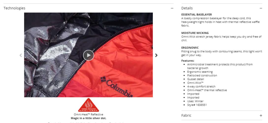 Columbia - Product Descriptions Sample