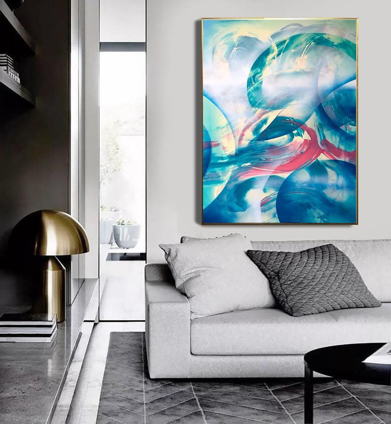 blue abstract interior painting