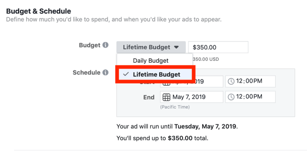 budget & schedule for ads