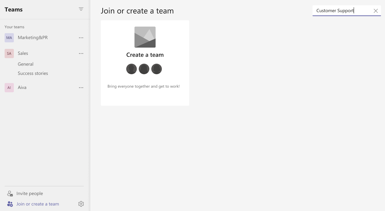 Search for a team on MS Teams