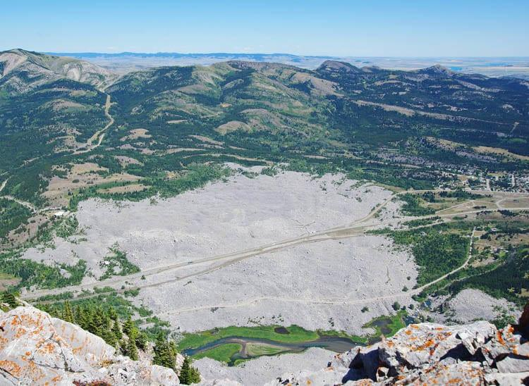 Looking down at the Franks Slide from the top of Turtle Mountain