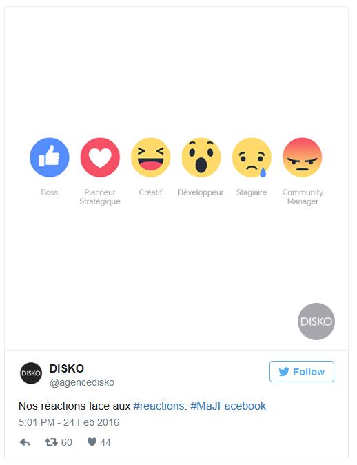 Le tweet de l'agence Disko : où comment les Facebook Reactions peuvent impacter le quotidienn des Social Media Workers ;-)