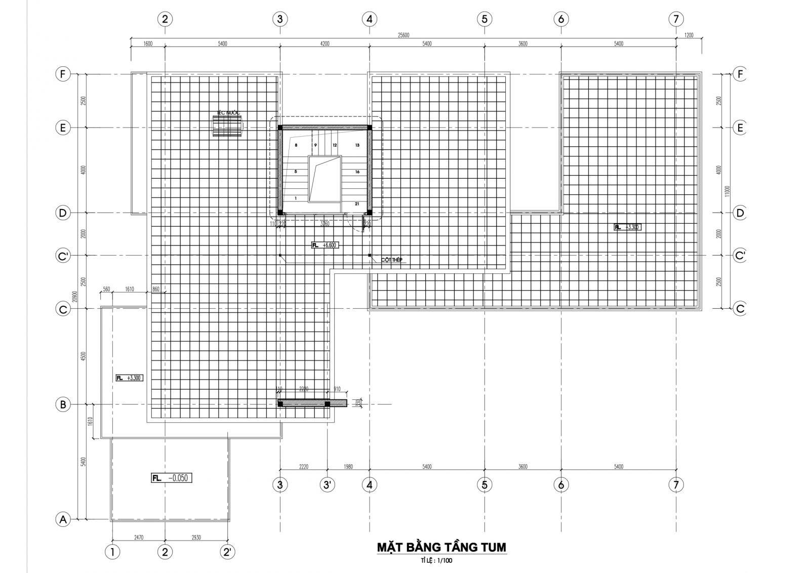 Mặt bằng tầng tum mẫu nhà biệt thự 2 tầng hiện đại
