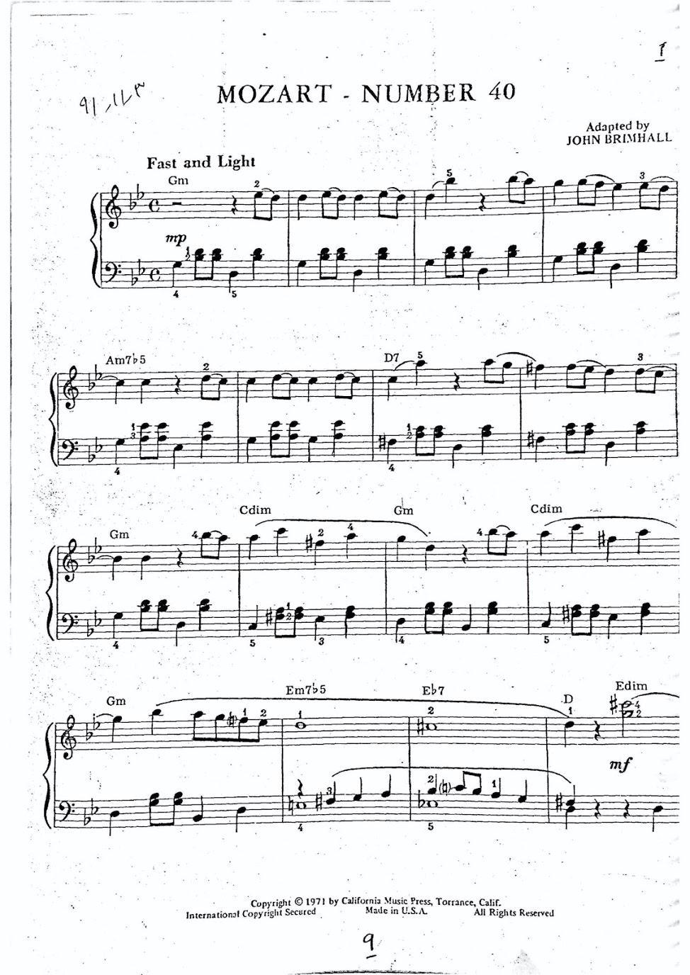 نت سمفونی شماره ۴۰ موتسارت