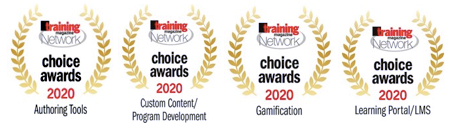 Awards badges for authoring tools, custom content/program development, gamification, and learning portal/lms