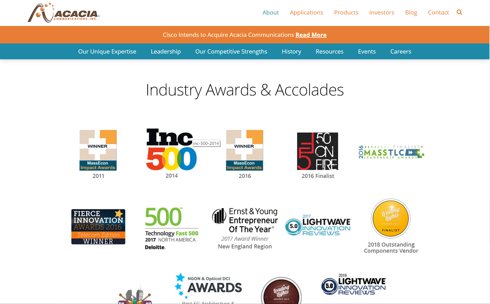 Example of manufacturing website that shows off awards and accolades your company has received.