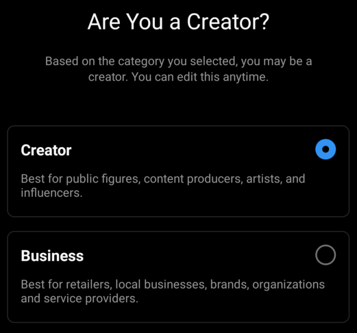 Instagram professional creator vs business