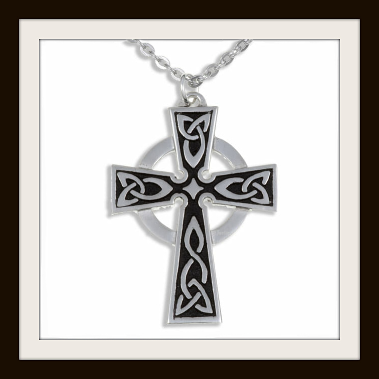 PADSTOW CELTIC CROSS ~ PEWTER PENDANT NECKLACE ~ FREE P/&P ~ MADE IN UK