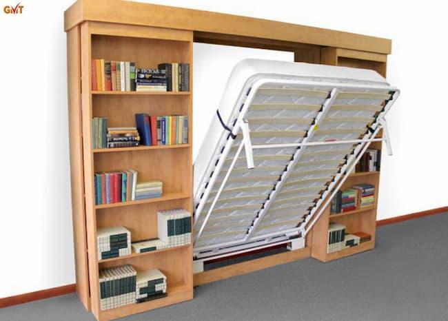 Giường ẩn đa năng tủ kệ sách
