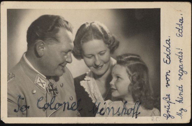 Photo of Goering, wife, and edda as a young girl from Image from: https://collections.ushmm.org/search/catalog/irn505785#?rsc=195463&cv=13&c=0&m=0&s=0&xywh=47%2C-244%2C2589%2C2268