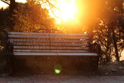 Parkbank im Sonnenuntergang